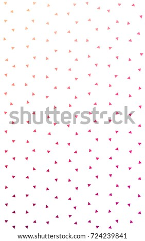 Light Pink, Yellow of small triangles on white background. Illustration of abstract texture of triangles. Pattern design for banner, poster, cover. #724239841