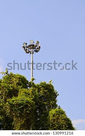 Light pole in garden
