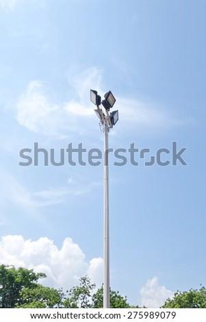 light pole with blue sky