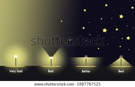 light pollution night photography landscape long exposure scale graphic Foto stock ©