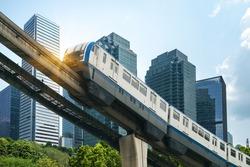Light rail runs on bridges at high speed in Chongqing, China