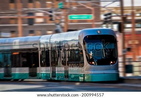 Light rail train in motion