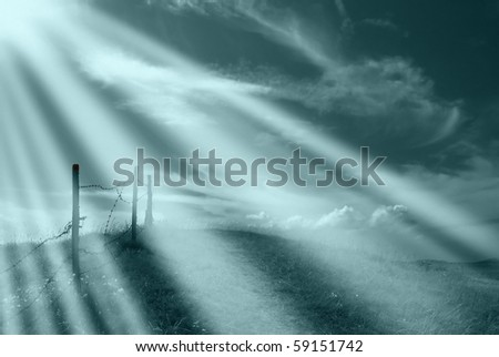 light rays on the mountain