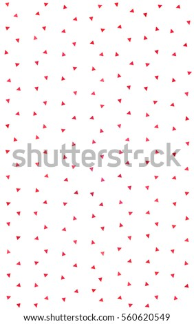 Light Red of small triangles on white background. Illustration of abstract texture of triangles. Pattern design for banner, poster, cover. #560620549