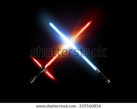 Light saber fight, red and blue isolated on black. Lightsaber futuristic weapons war. Sabre sword with fire force. Star master weapon equipment. Laser steel swords. Dark and light force war.