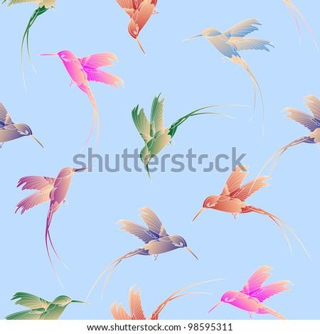 Light seamless pattern with hummingbird.Raster version