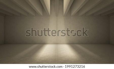 Light shine through ceiling balks casting shadows. Beige concrete interior 3d render illustration Stockfoto ©