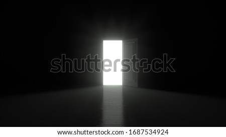 Light shines from door opening in dark room. Fills the space with bright white light. 3D render ストックフォト ©