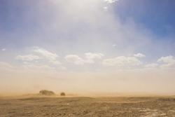 Light shines through the rising grains of a sandstorm in the vast hot desert.