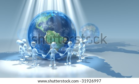 people holding hands around earth. stock photo : Light shining down on stick figures holding hands around earth