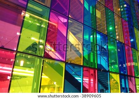 Light shining through modern stained glass windows. Palais des congress, Montreal.