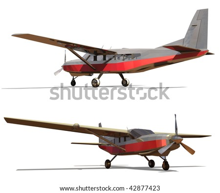 Light single-engine plane. Isolated on a white background. Render.
