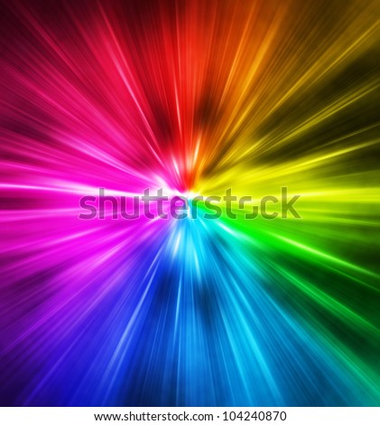 Light speed. Spectrum of Rainbow colored rays.