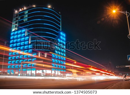 Light Streaks in front of The Future Tower on the 30 june Boulevard in Kinshasa, Congo