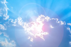 Light sun pass cloud and sky blue or azure sky is beauty. It is everything lies above surface Earth atmosphere and outer space is sky. Light beam or sunlight is bright through beautiful view.