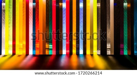 light through Stack of different colours Cast Acrylic Sheet Stock photo ©