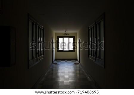 Light through window at dark corridor. Soft focus #719408695
