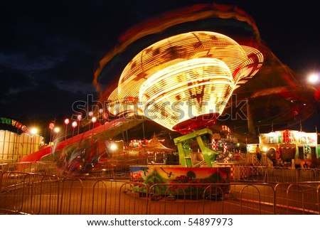 light Tornado, part of the midway at the 2009 Douglas County Fair in Roseburg Oregon at night.
