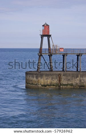 Light tower,whitby harbour,yorkshire,england