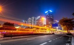 Light trace of modern architecture background in Shenzhen Financ