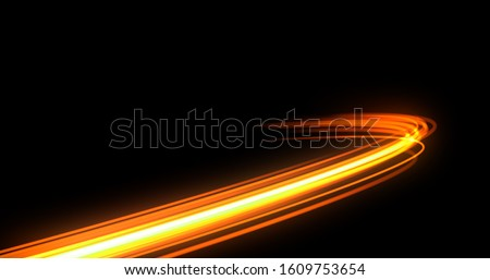 Light trail flash, neon yellow and orange golden glow path trace effect. Light trail wave, fire path trace line, car lights, optic fiber and incandescence curve twirl