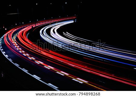 light trail in japanese highway