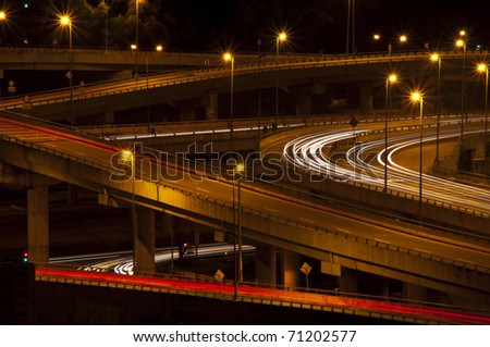 light trail view at flyovers
