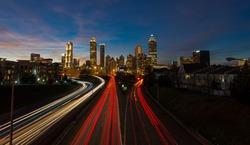 light trails as seen from Jackson street bridge Atlanta, Georgia