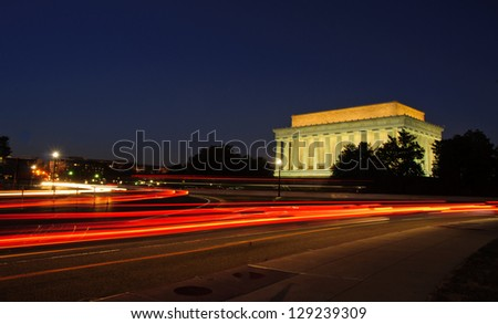 Light trails at dusk near Lincoln Memorial, National Mall. Washington, DC