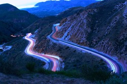 light trails at grimes canyon road in California