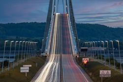 Light trails from cars at Pont de Normandie. Long exposure photograph at night