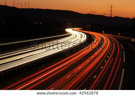 Light trails from cars travelling down-2