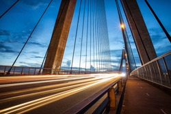 Light trails from vehicles on ANZAC Bridge in Sydney