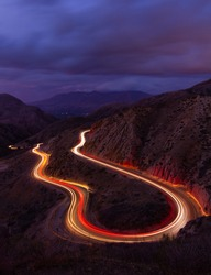Light trails in Grimes canyon under moody skies