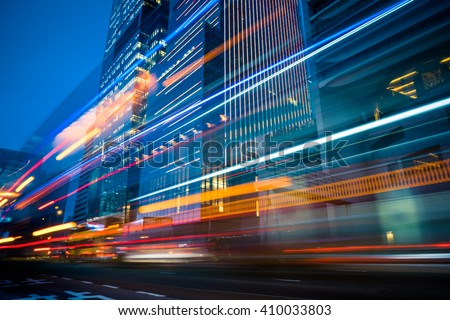 light trails in the downtown district,hongkong china. #410033803