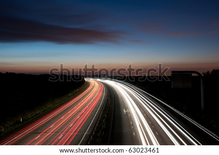 Light trails , motorway M4 to London
