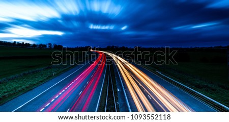 Light trails of a UK motorway