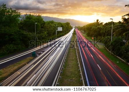 Light trails of cars in Saint Denis, Reunion Island #1106767025