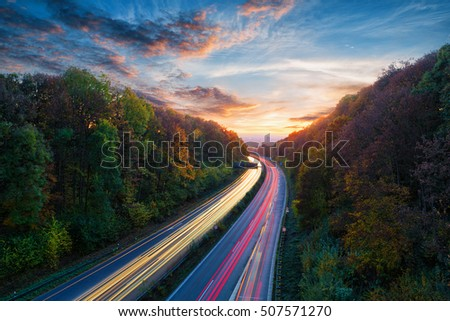 light trails on german autobahn