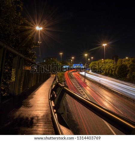 Light trails on Mancunian Way, Manchester