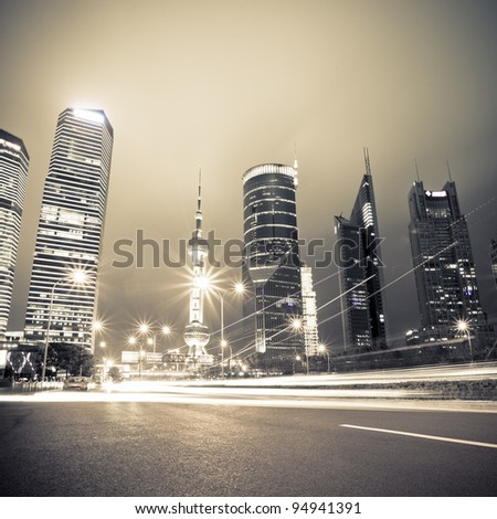 light trails on the century avenue at night in shanghai,China