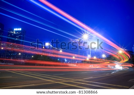 light trails on the highway at night