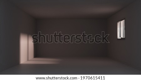 Light trough window with blinds on a late summer night in an empty room without any furniture. 3D Illustration. 3D rendering Сток-фото ©