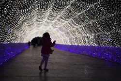 light tunnel and young girl