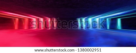 Light tunnel, dark long corridor room with neon lamps. Abstract blue and red neon, background with smoke and neon light. Concrete floor, symmetrical reflection and mirroring. 3D illustration.