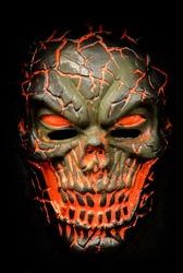 Light-Up Scorched Skull Half Mask Isolated on Black Color