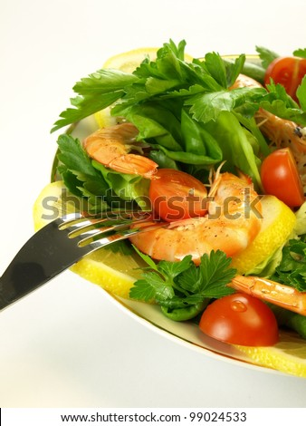 Light vegetarian dinner with seafish