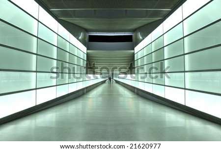 light wall tunnel in underground station in Berlin, Germany