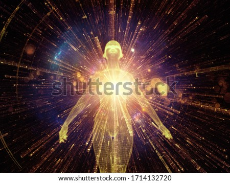 Light Within series. 3D rendering of human figure, radiating light and fractal elements on the subject of inner energy, astral dimension and spirituality.