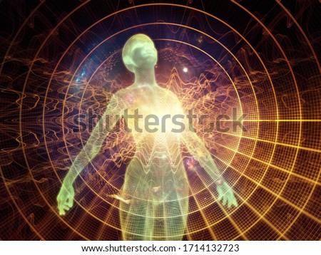 Light Within series. 3D rendering of human figure, radiating light and fractal elements on the subject of inner energy, astral dimension and spirituality. Photo stock ©